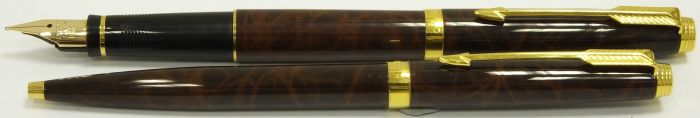 PA2267 Parker 75 Thuya Lacqu� Fountain Pen and Ballpoint Set, boxed.  (Medium)